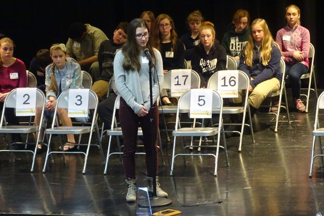Rachel Teynor, grade 7, from Colonel Crawford, won the Crawford County Spelling Bee on Thursday at Buckeye Central High School.