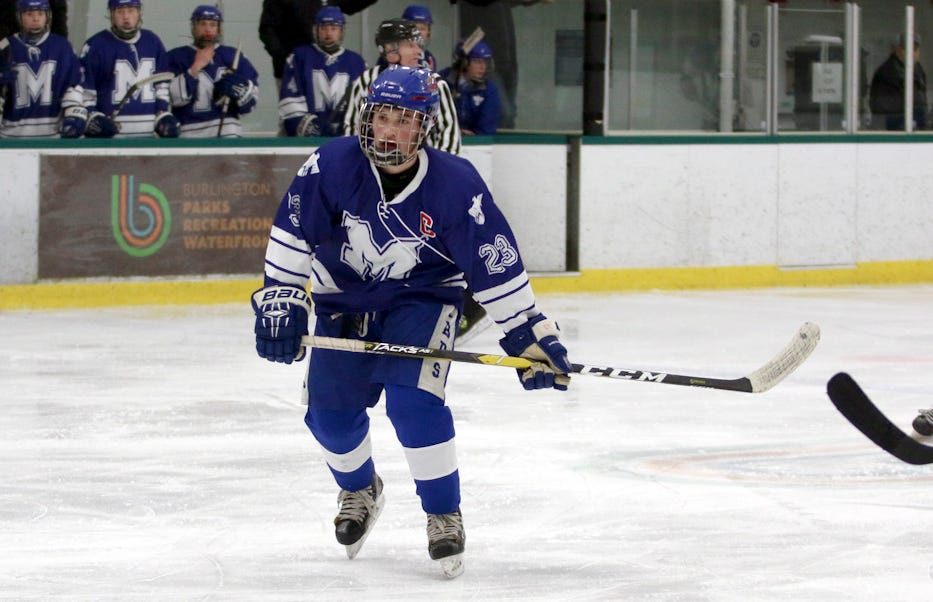 Missisquoi's Braylen Parent skates up the ice during a game against Colchester at Leddy Park. Parent is the Varsity Insider athlete of the week for Dec. 30 to Jan. 5.