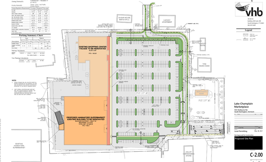 A site plan for a new Hannaford supermarket on Shelburne Road shows the store occupying the former Kmart building (dark orange).