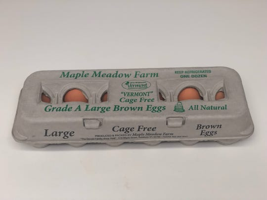 A Maple Meadow Farm egg carton shows the word Vermont in quotation marks. Jan. 10, 2019.