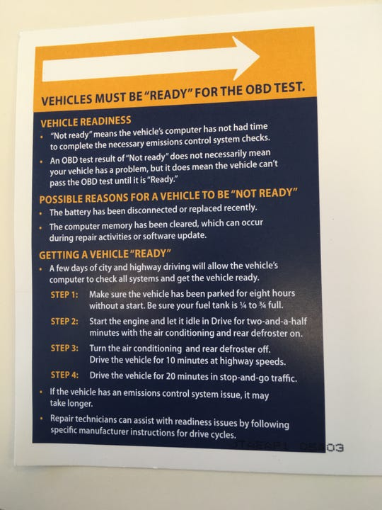 A postcard sent by the Vermont Department of Motor Vehicles instructs Vermonters on how to prepare their vehicles for onboard diagnostics tests in their annual inspection.