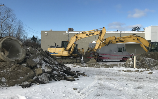 Excavation of old sewer lines is underway at the former Kmart Plaza in South Burlington on Friday, Jan. 11, 2019. Hannaford supermarket, currently located on an adjacent property to the southwest, plans to move here.
