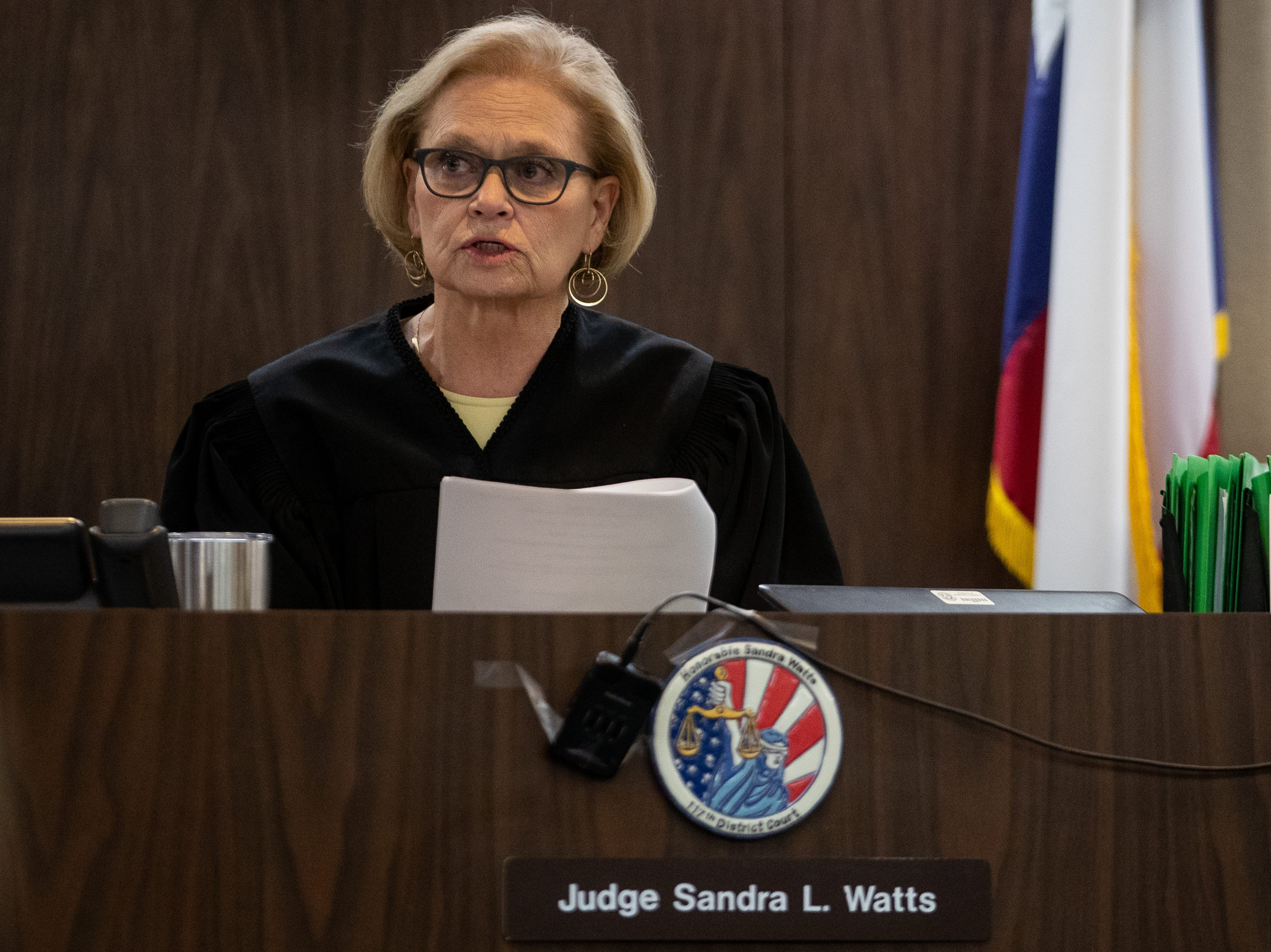 Judge Sandra Watts, 117th District Court, reads the jury's verdict in the trial of Elton Wayne Holmes on Friday, January 11, 2018. Holmes is charged in an alleged hit-and-run that left Rai-ane Garza, a King High School student dead.