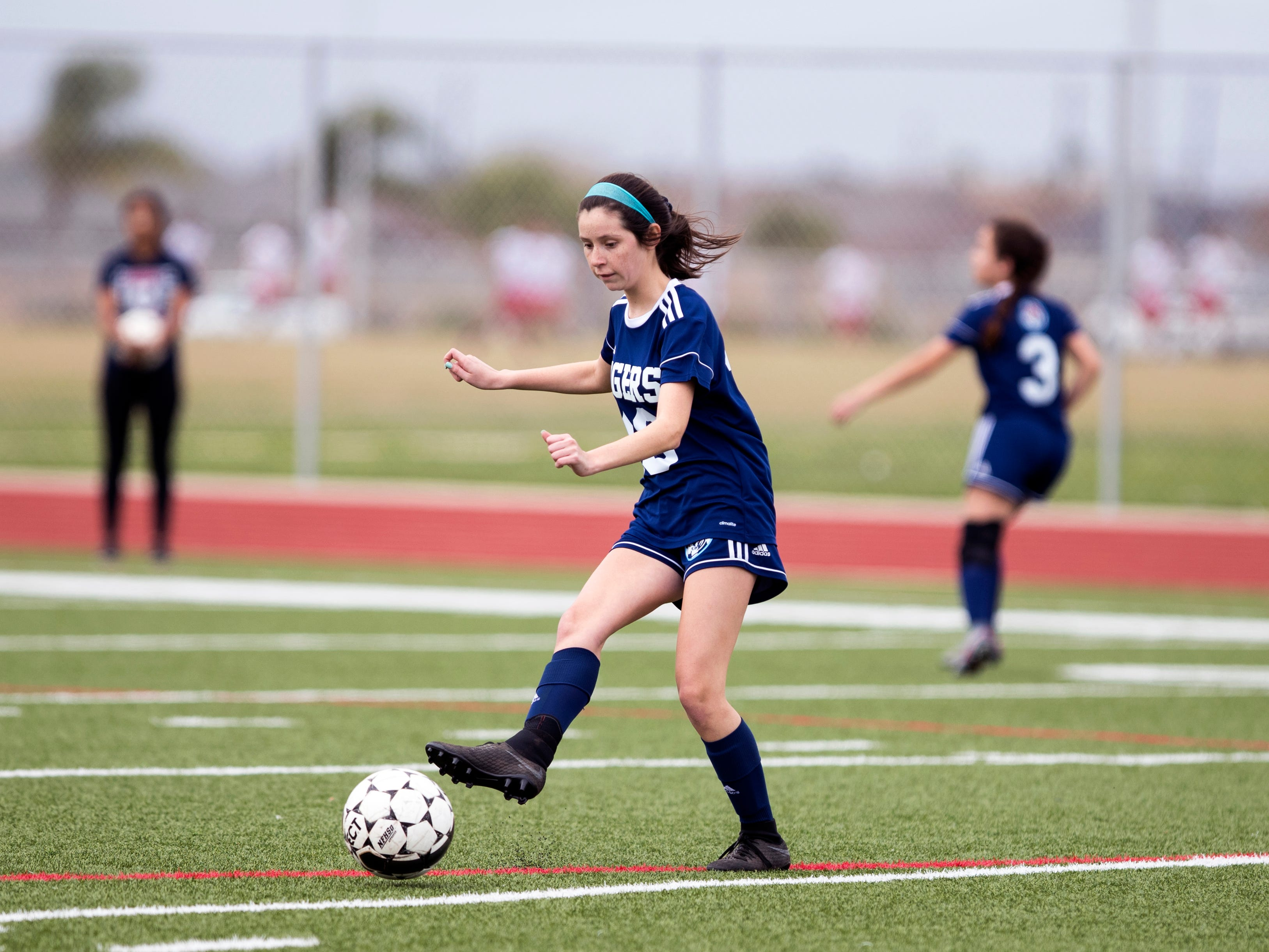 Carroll's Emily Barrera goes after the ball in the game against Veterans Memorial in the Mira's Soccer Tournament at Veterans Memorial High School on Friday, January 11, 2019. The Eagles won the game 5-0.