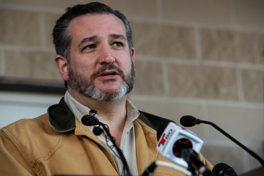 Sen. Ted Cruz R-TX speaks about border security during a press conference with Sen. John Cornyn R-TX at the  Anzalduas International Bridge in Mission, TX on Thursday, Jan. 10, 2019. The senators accompanied president President Donald Trump on his trip to the southern border earlier in the day.