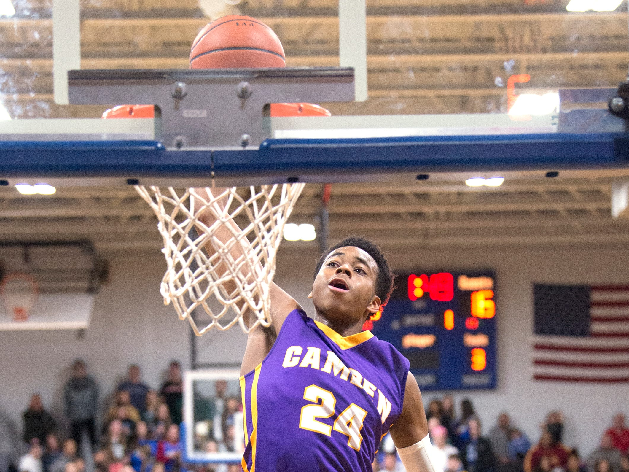 Camden's Jerome Brewer dunks the ball during the 1st quarter of the boys basketball game between Camden and Paul VI, played at Paul VI High School in Haddon Township on Thursday, January 10, 2019.  Camden won, 63 -57.