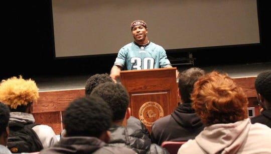 Philly Eagles running back and Glassboro High alum Corey Clement donated $5,000 to his high school Jan. 4, 2019.
