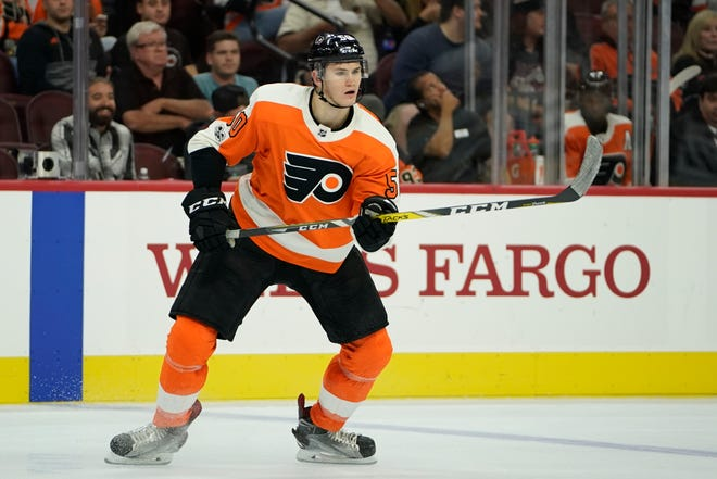 Samuel Morin has been practicing with the Flyers, but won't return to playing action until next month. He had surgery to repair a torn ACL in his right knee on May 31 last year.