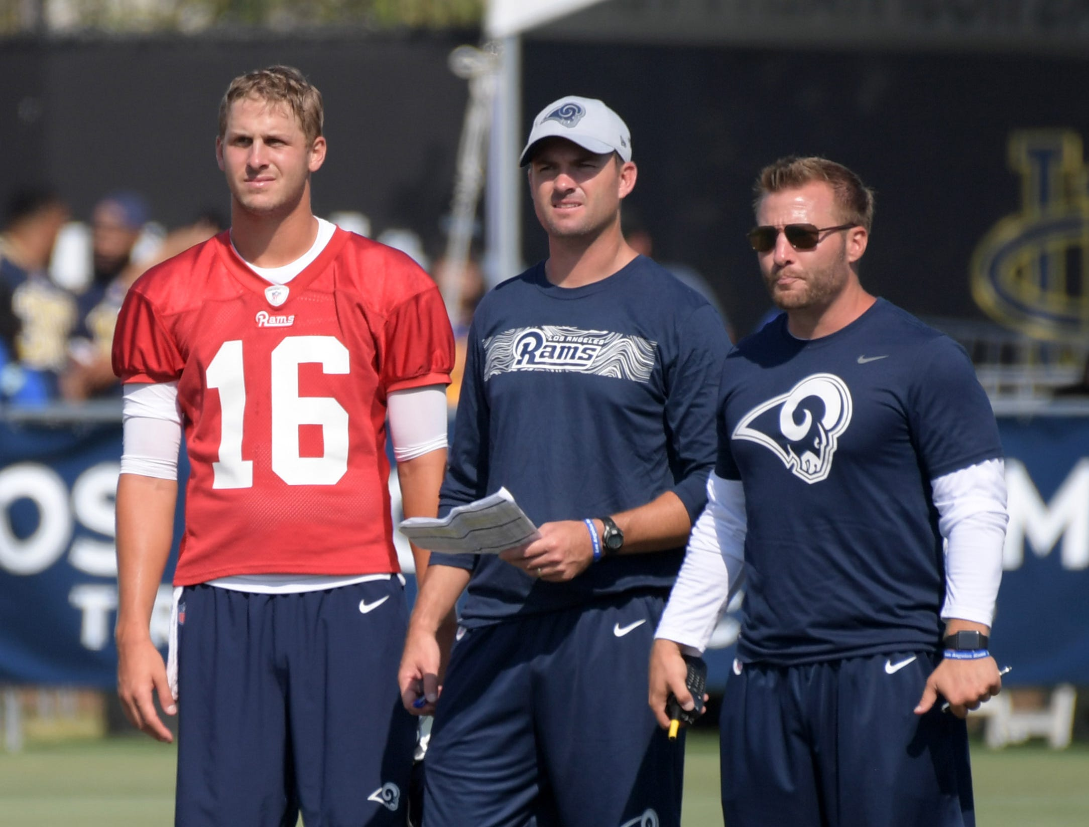 Taylor (center) has had success working with Rams head coach and former Miami University wide receiver Sean McVay as well as quarterback Jared Goff since arriving in Los Angeles.
