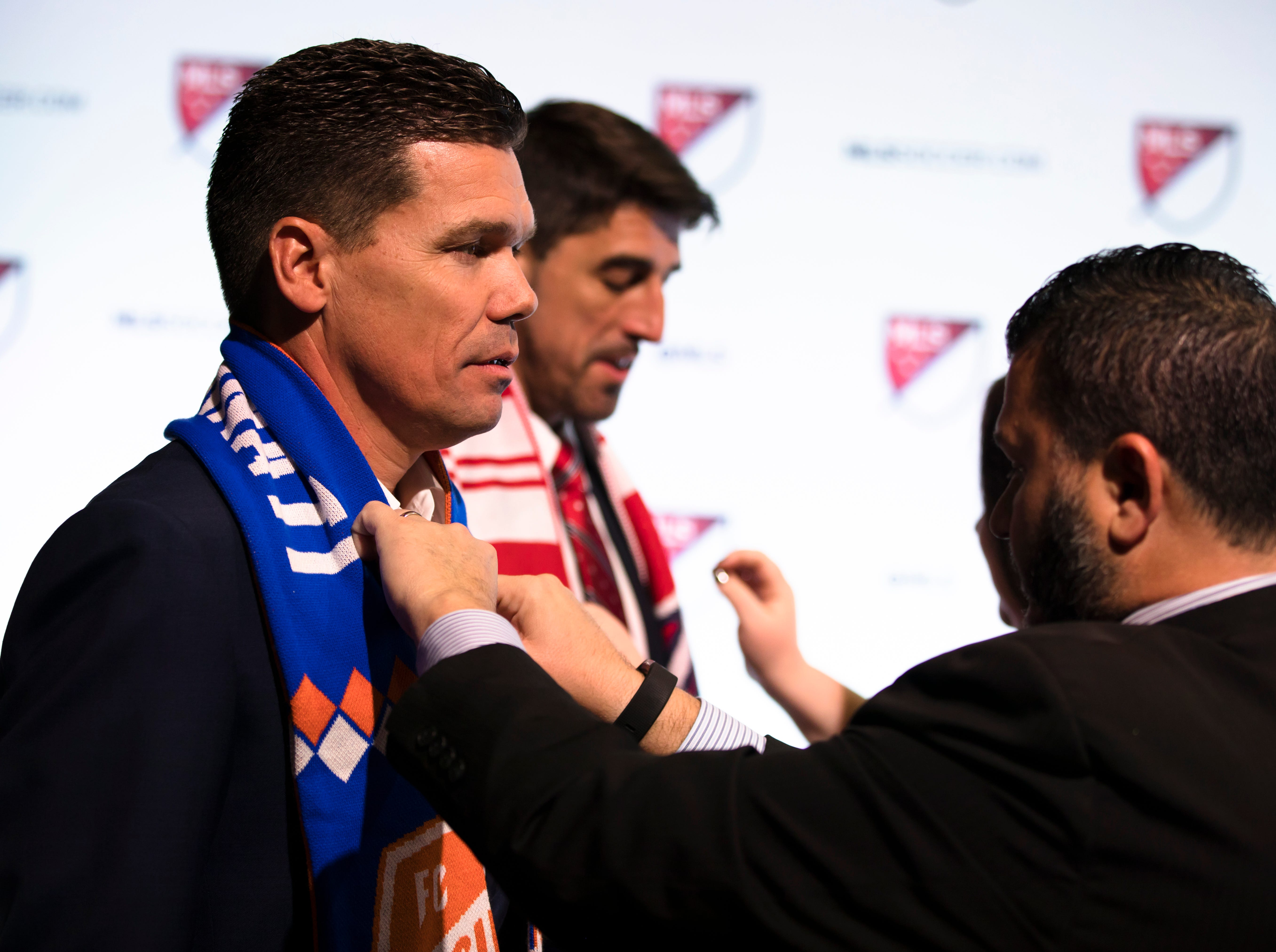 FC Cincinnati Manager Alan Koch stands for a picture with the rest of the MLS Coaches during the MLS Superdraft on Friday, Jan. 11, 2019 in Chicago, Illinois.