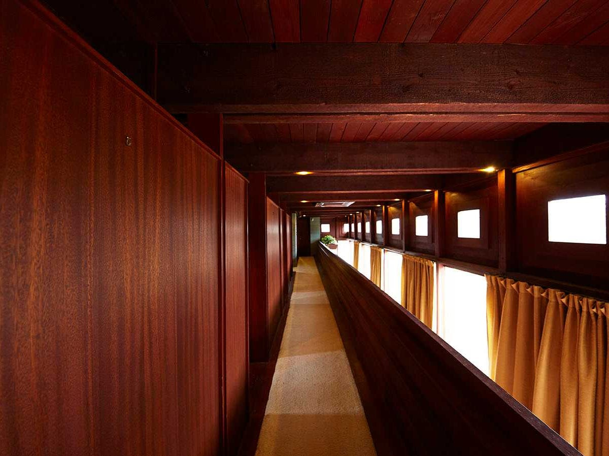The interior of the home is lined with Douglas fir timbers.