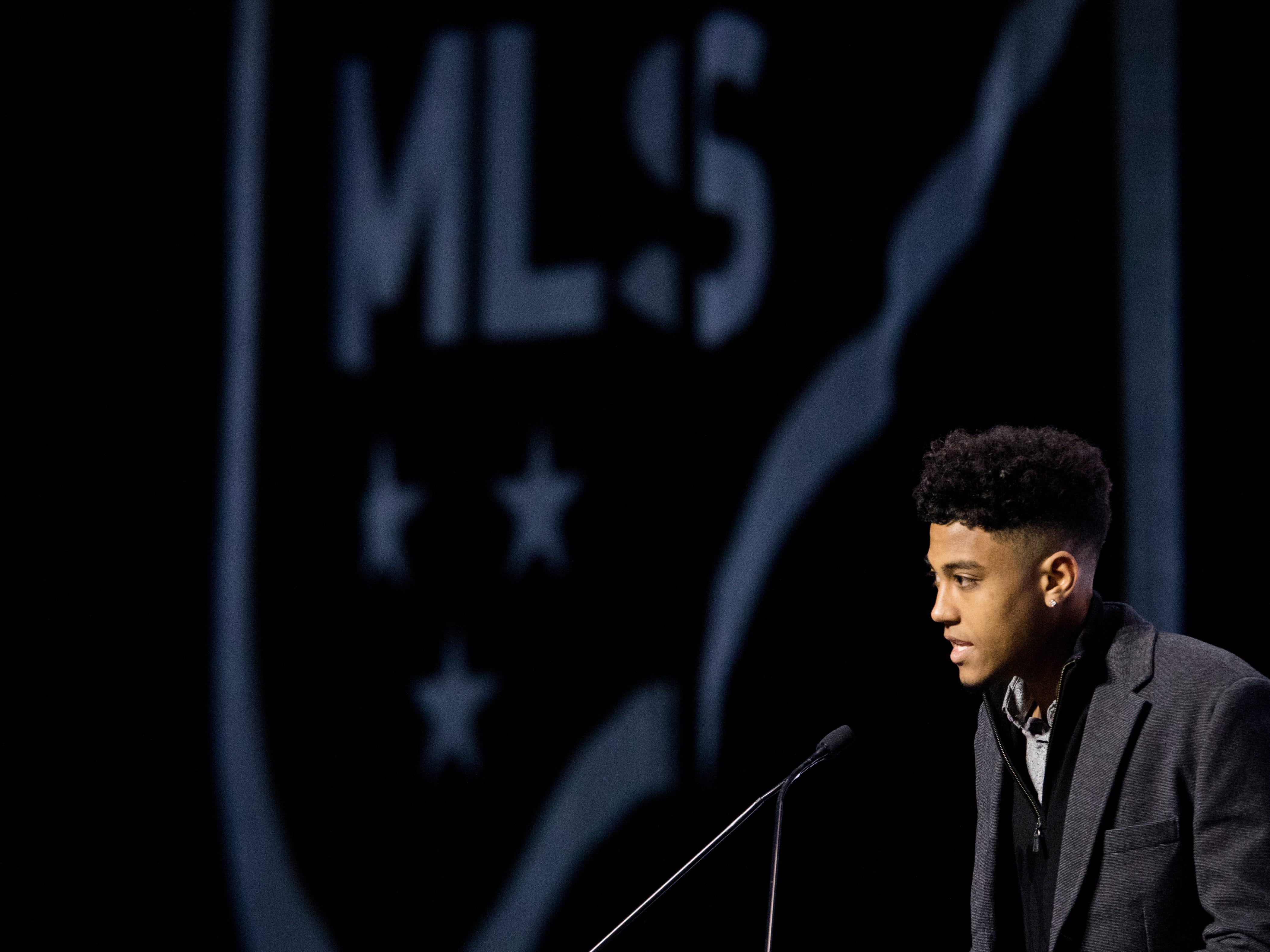 Logan Gdula speaks after being picked by FC Cincinnati as the 13th pick of the first round of the MLS Superdraft on Friday, Jan. 11, 2019 in Chicago, Illinois.