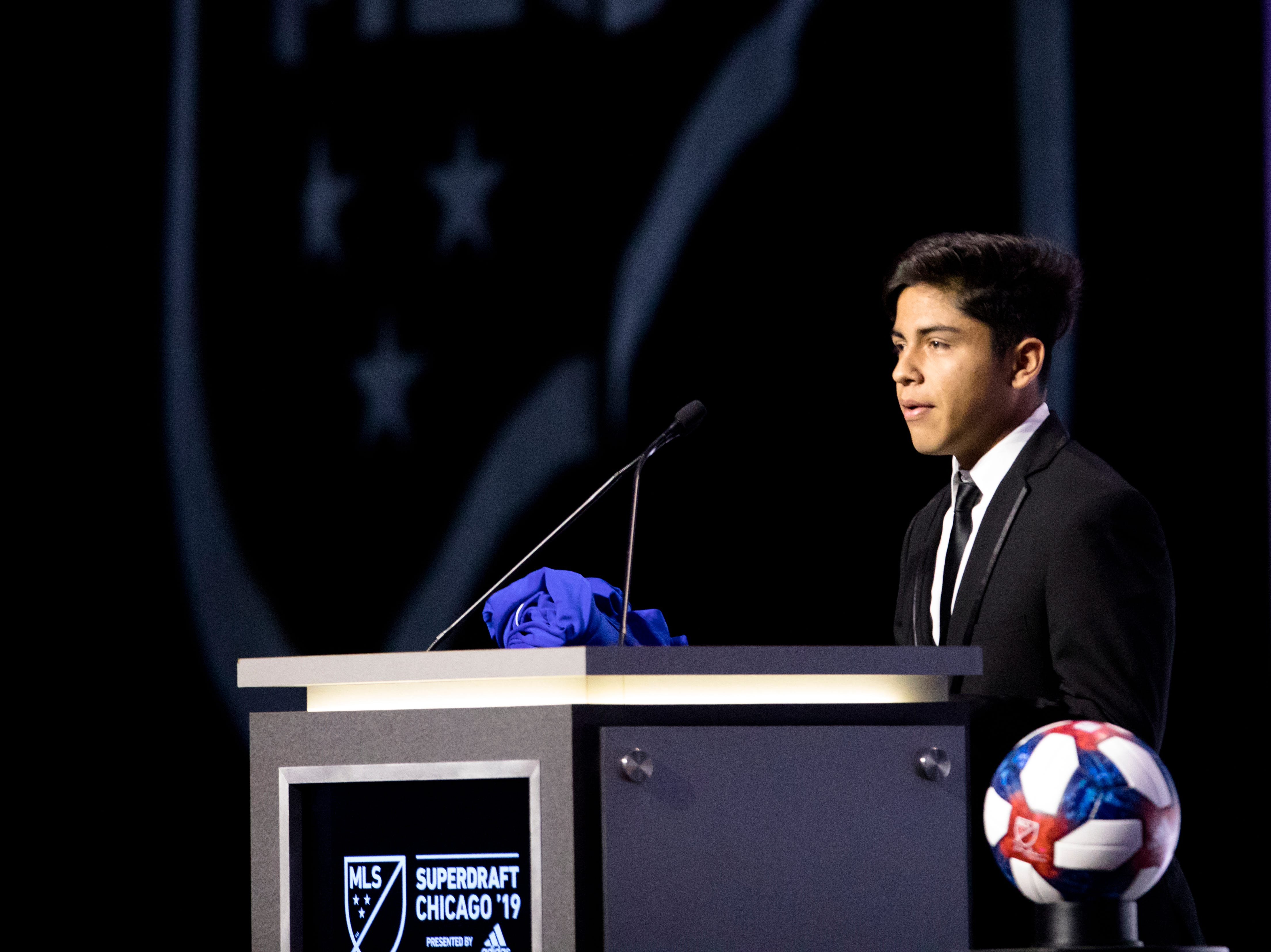 Frankie Amaya speaks after being selected by FC Cincinnati in the first pick of the first round of the MLS Superdraft on Friday, Jan. 11, 2019 in Chicago, Illinois.