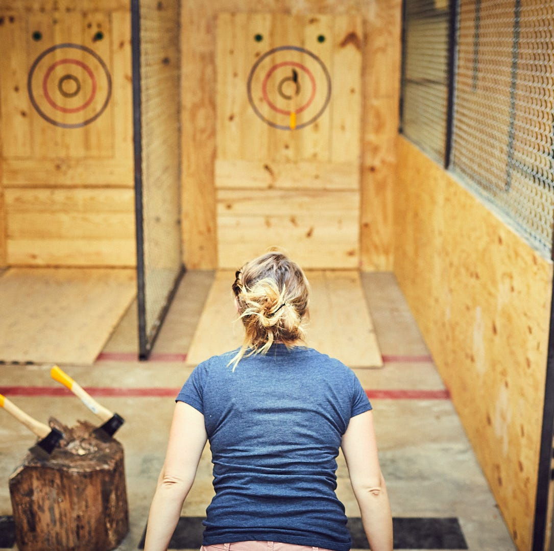 Pizza and ax throwing is the new pizza and bowling date night