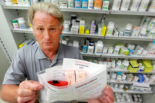 In 2013, Sam Coletta of Avenue Pharmacy in Dayton, Kentucky, made up this naloxone kit. It was among the first in Kentucky to provide the opioid overdose antidote to users and their families in the region.