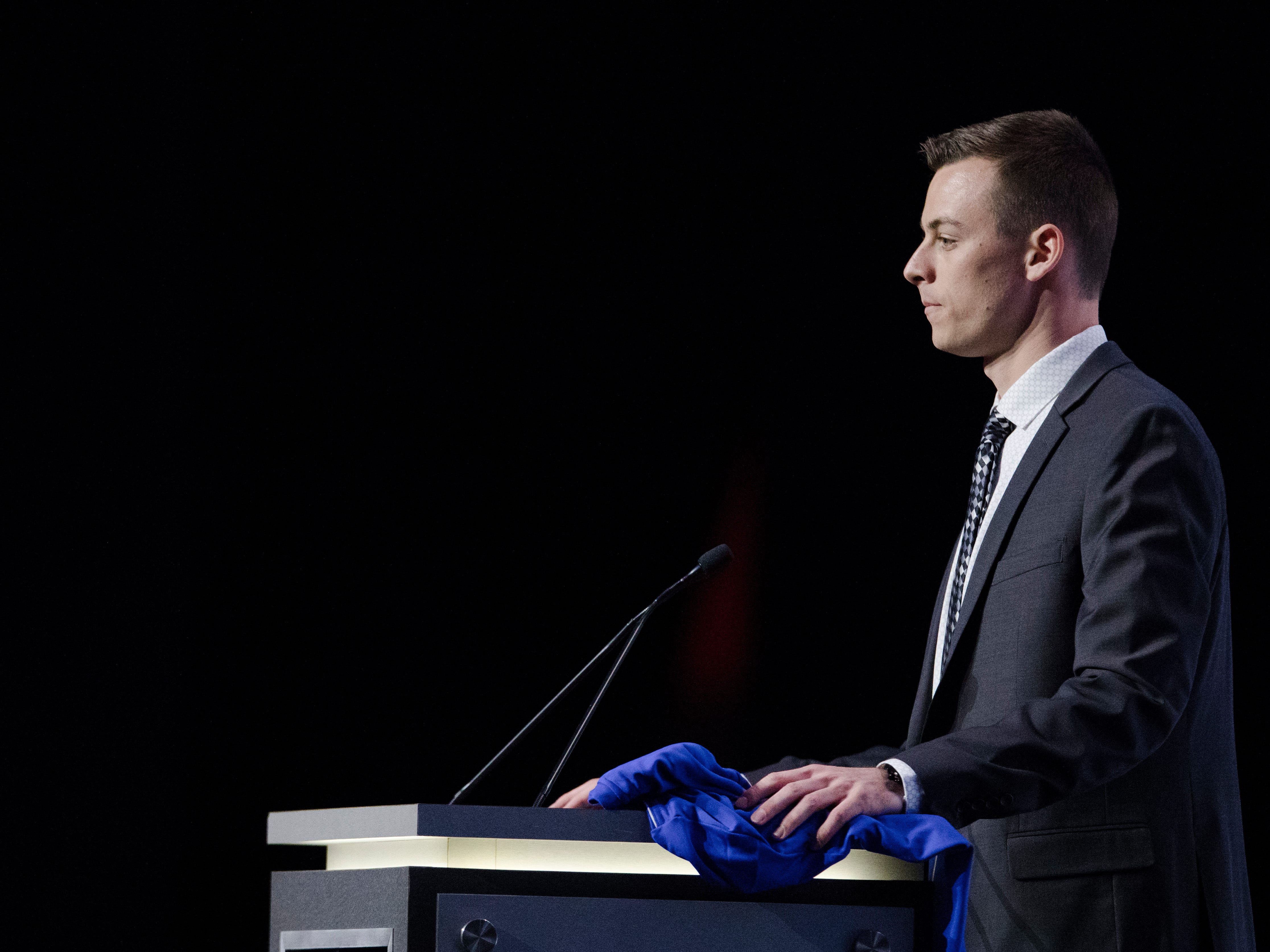 Jimmy Hague speaks after being drafted by FC Cincinnati as the second round of the MLS Superdraft on Friday, Jan. 11, 2019 in Chicago, Illinois.