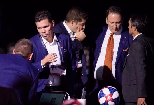 FC Cincinnati manager Alan Koch talks during the first pick of the first round of the MLS Superdraft on Friday, Jan. 11, 2019 in Chicago, Illinois.