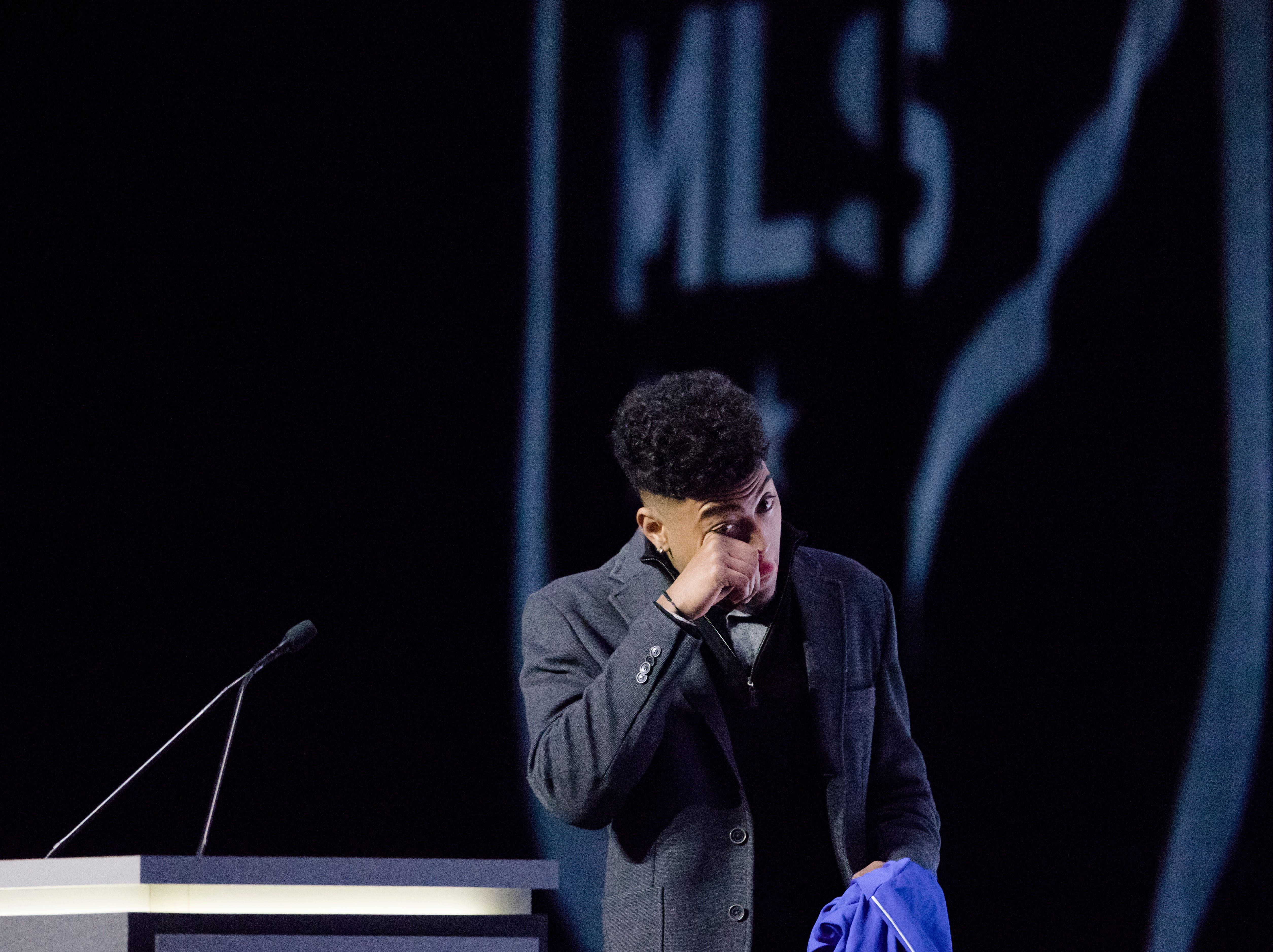 Logan Gdula reacts to being picked by FC Cincinnati as the 13th pick of the first round of the MLS Superdraft on Friday, Jan. 11, 2019 in Chicago, Illinois.