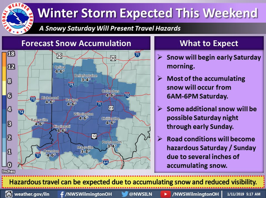 Snow is expected to come in two waves between 4 a.m. Saturday and 7 a.m. Sunday.