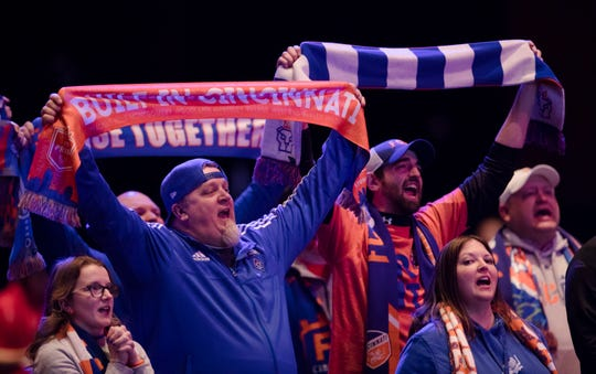 FC Cincinnati fans cheer during the second round of the MLS Superdraft on Friday, Jan. 11, 2019 in Chicago, Illinois.