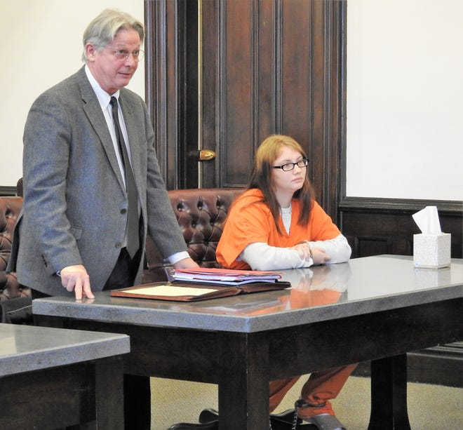 Attorney Jeffrey Kellogg addresses Coshocton County Common Pleas Court Judge Robert Batchelor on behalf of his client, Lisa M. Davis. Davis received an aggregate term of 36 months in prison for charges of obstruction of justice, burglary and theft.