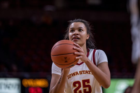 Iowa State center Kristin Scott during a game earlier this season.