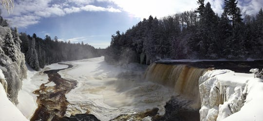 Upper falls at Tahquamenon Falls State Park in the Upper Peninsula.