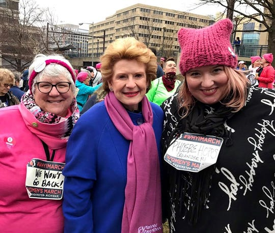 Marion Christiansen, left, with U.S. Sen. Debbie Stabenow, D-Michigan, and Phoebe Hopps, founder and president of Women's March Michigan, at the Women's March on Washington on Jan. 21, 2017.