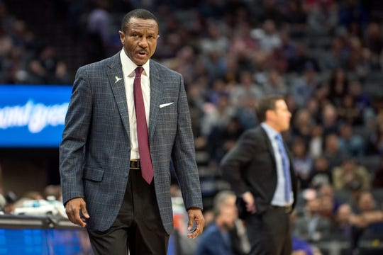 Detroit Pistons head coach Dwane Casey reacts to a call during the first quarter against the Sacramento Kings at Golden 1 Center on Thursday, Jan. 10, 2019, in Sacramento, Calif.