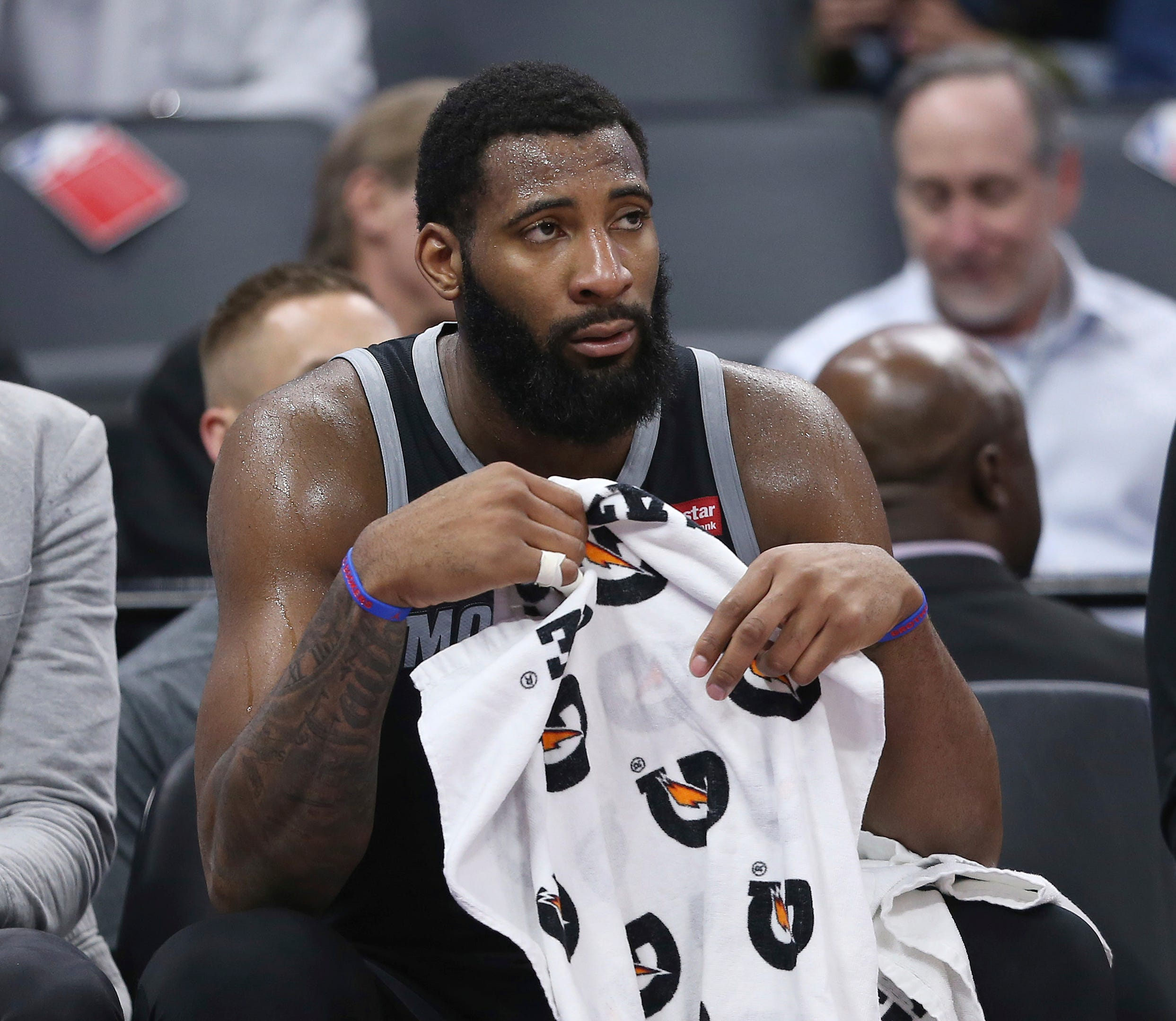 Pistons center Andre Drummond watches the closing moments of the 112-102 loss to the Kings on Thursday, Jan. 10, 2019, in Sacramento.
