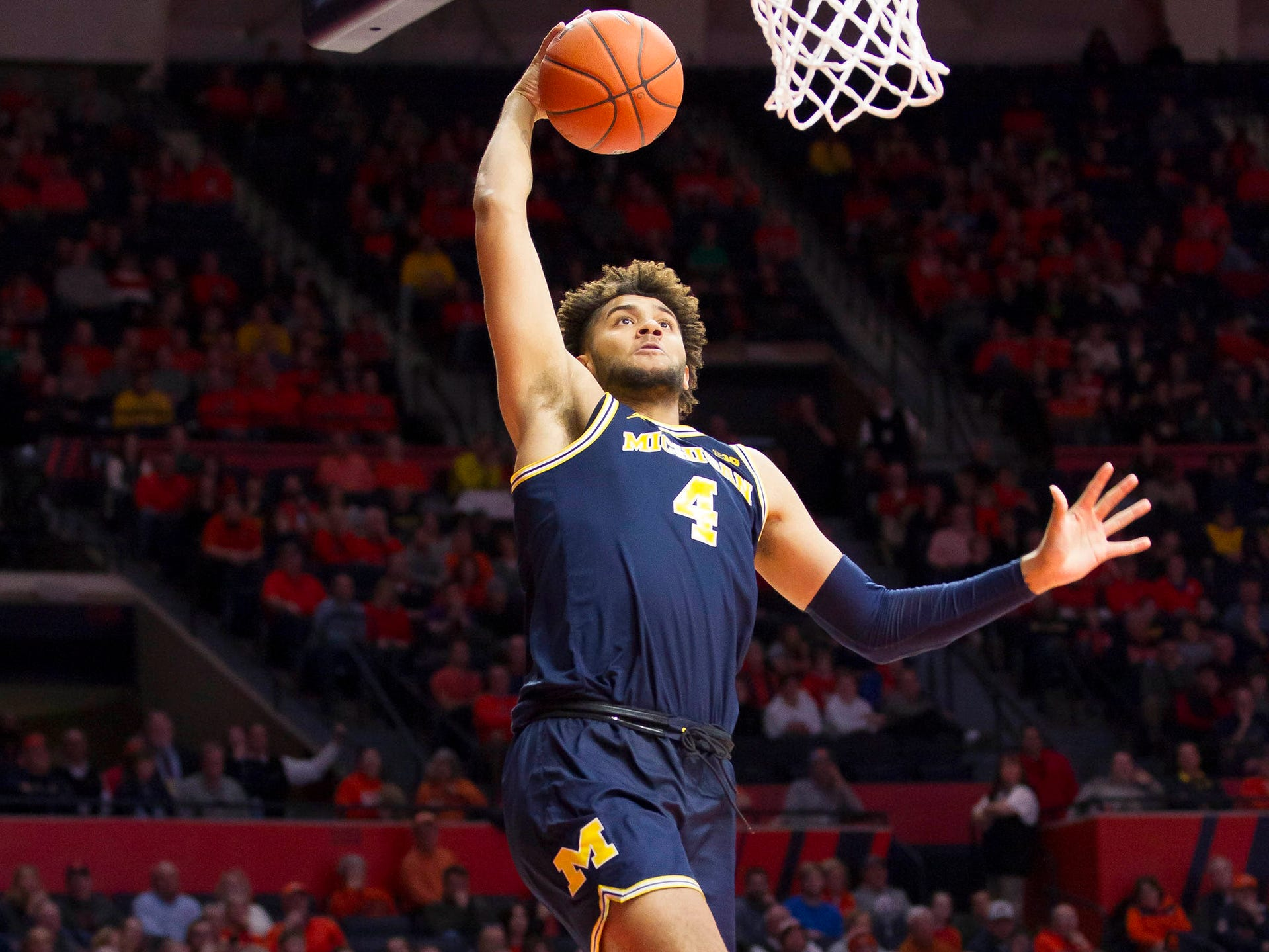 Michigan forward Isaiah Livers shoots during the second half of U-M's 79-69 win on Thursday, Jan. 10, 2019, in Champaign, Ill.