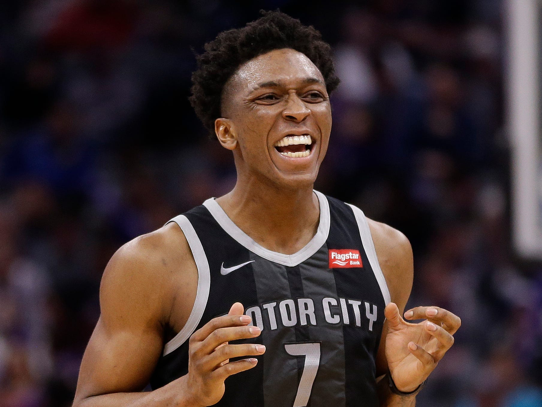 Pistons forward Stanley Johnson reacts after being called for a foul during the second half of the 112-102 loss to the Kings on Thursday, Jan. 10, 2019, in Sacramento.