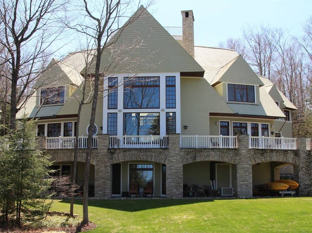 Located on a 2.3 acre lot in the luxury community of Bay Harbor near Petoskey, this two-story, 9,350 square-foot home is selling for $4.9 million.