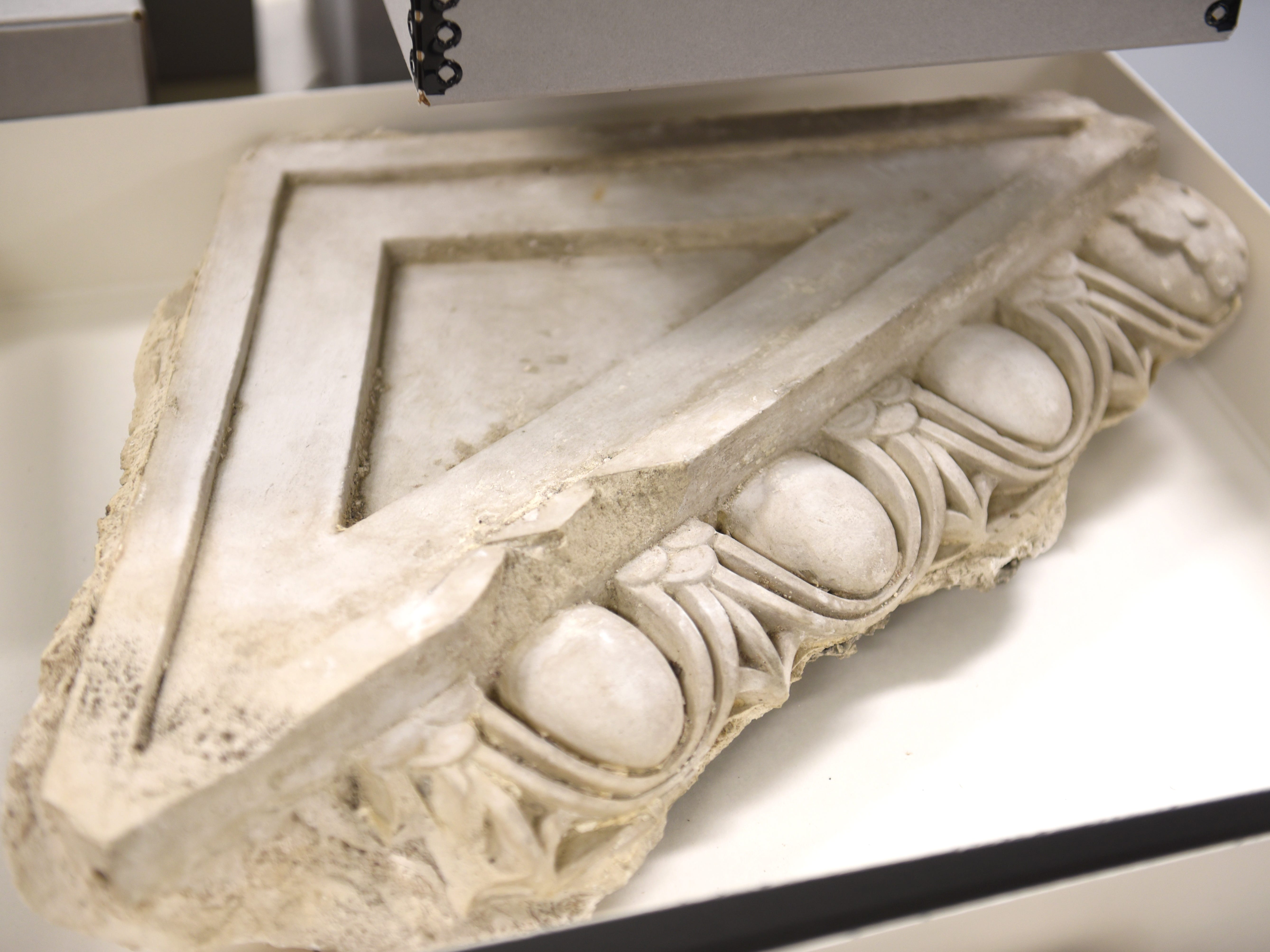 Original moulding from the Michigan Central Train Depot is part of the Ford Archive in Dearborn on Friday, Jan. 11, 2019.