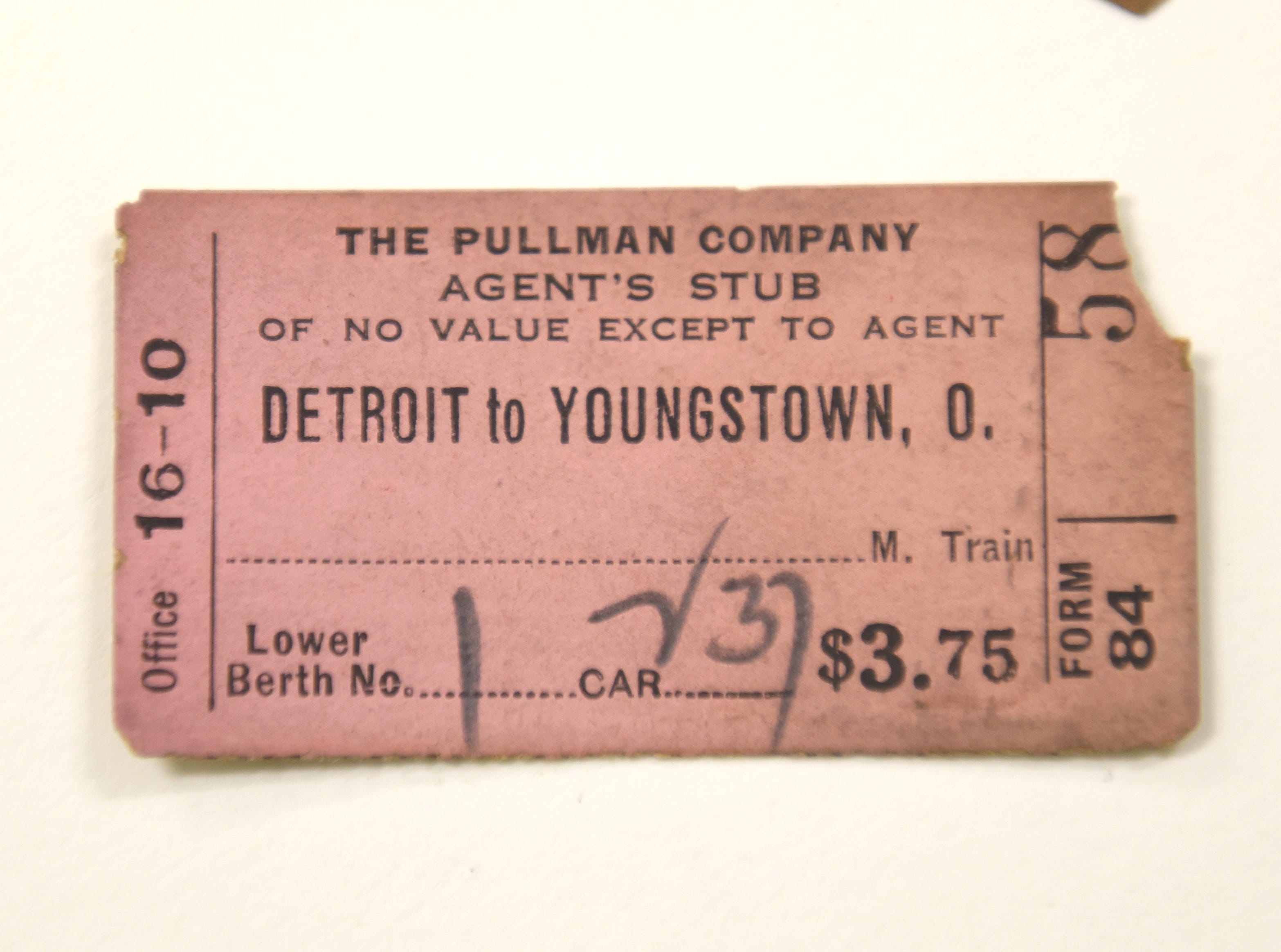 Agent's ticket stub displayed at the Ford Archives in Dearborn.