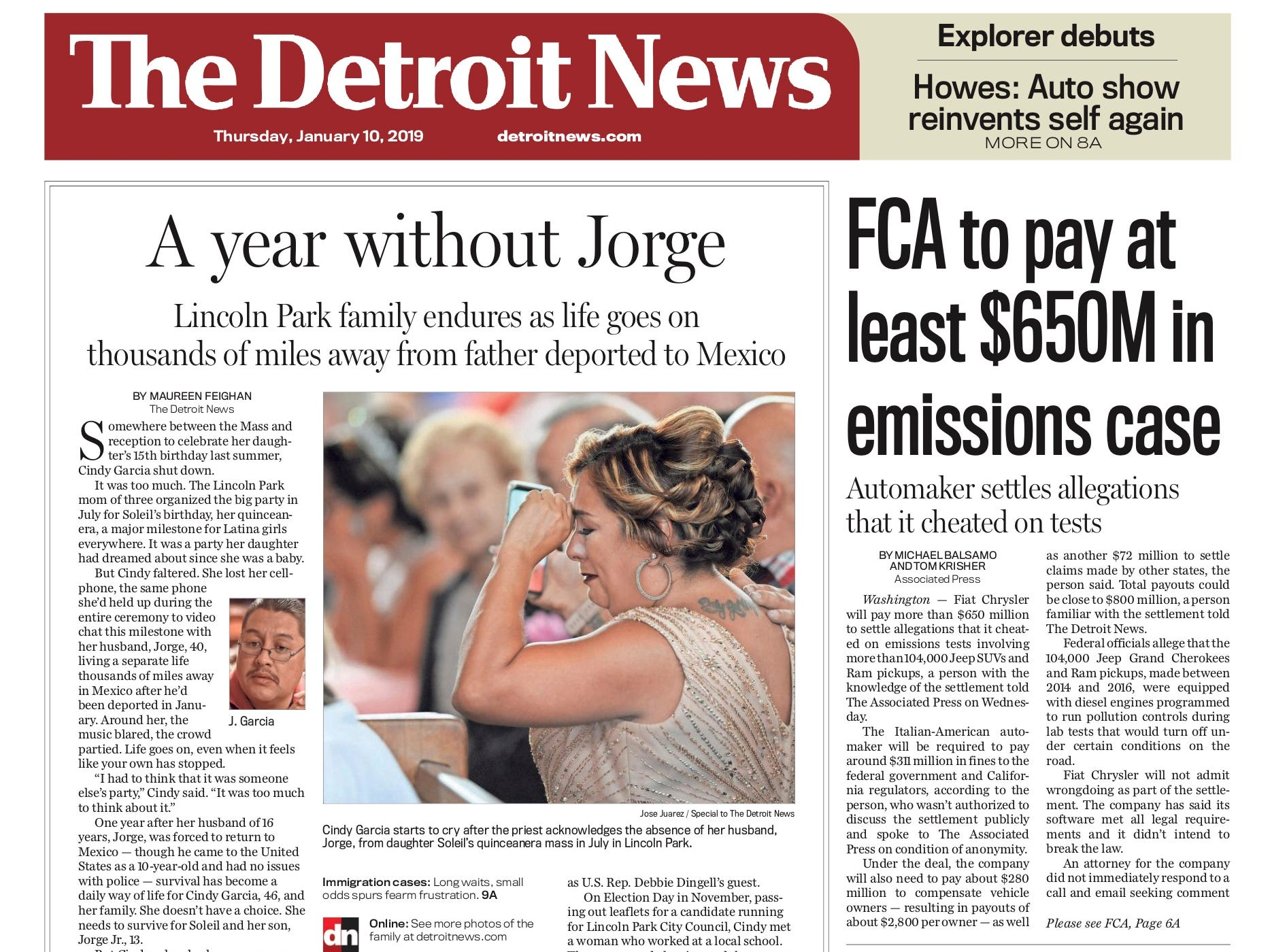 The front page of the Detroit News on January 10, 2019.