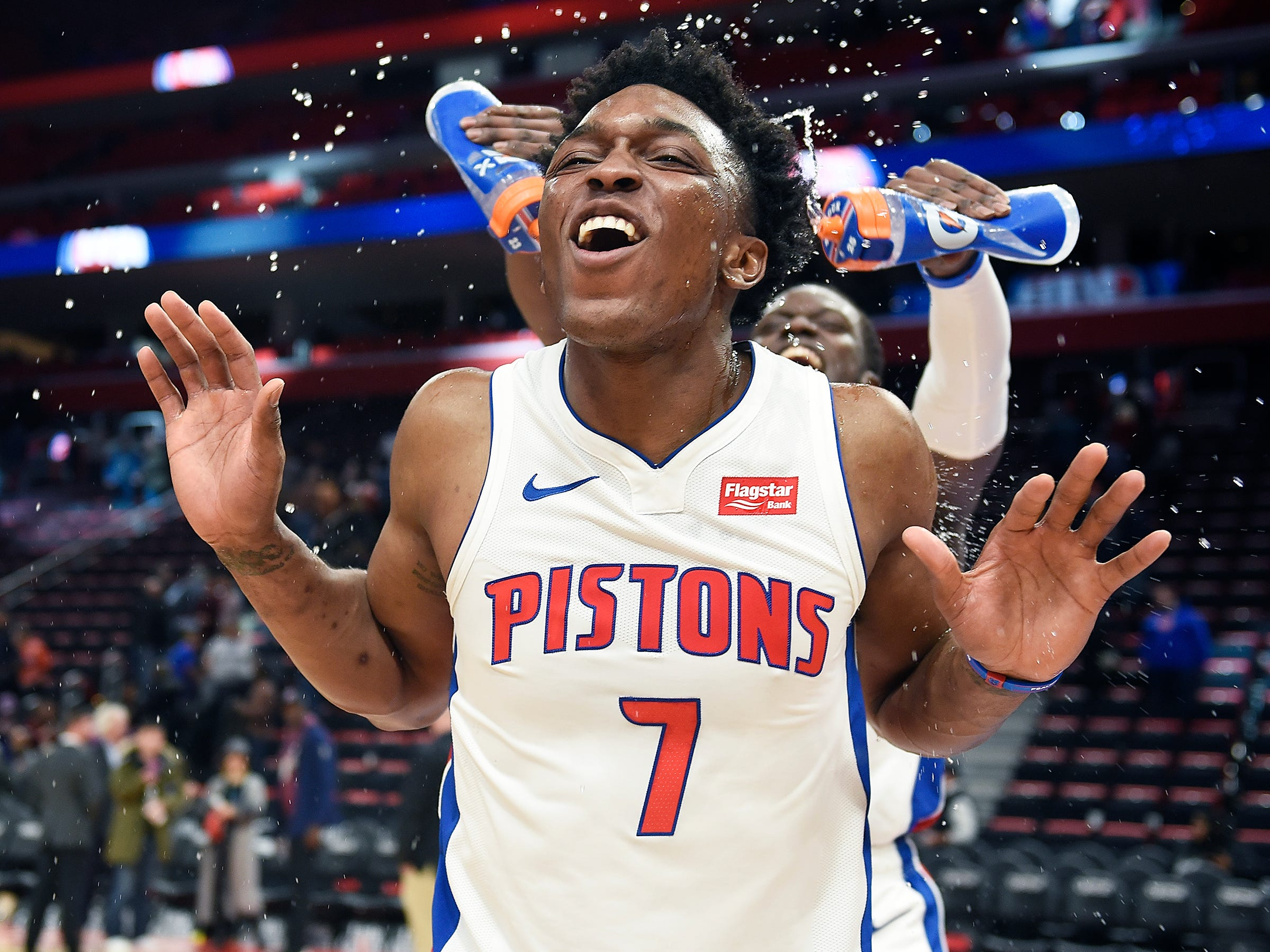 Stanley Johnson -- Stats: 8.3 pts., 3.6 rebs., 27% 3FG in 36 games. Age: 22. He began the season as a starter, but he's found a better fit coming off the bench as a pace-setter and defender. His shooting still needs to improve greatly to be a better 3-and-D option. He can help himself with more consistent play. Grade: C