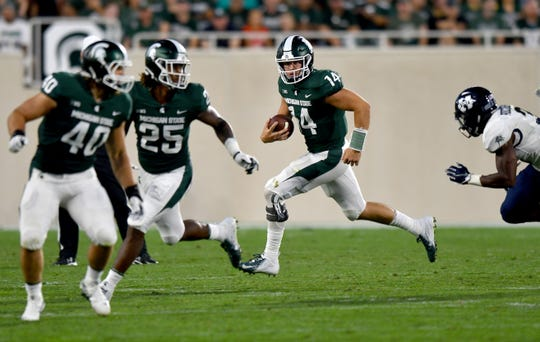 Most of Brian Lewerke's success came in 2017 when he threw 20 touchdown passes and gained 3,352 total yards, the second-most in program history.