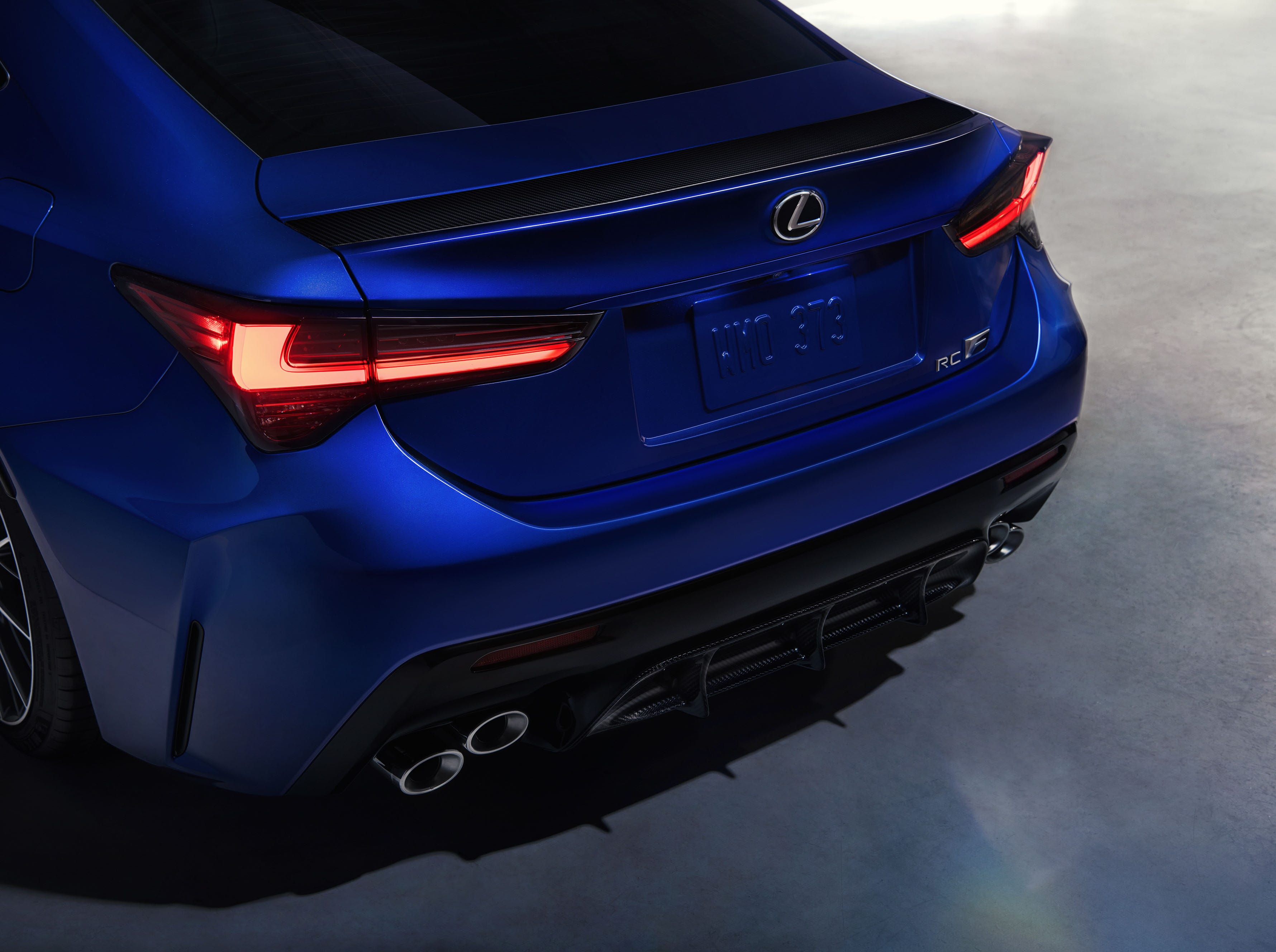 """""""New taillights integrate neatly into a reshaped bumper to give the RC F a cleaner, more chiseled appearance."""""""