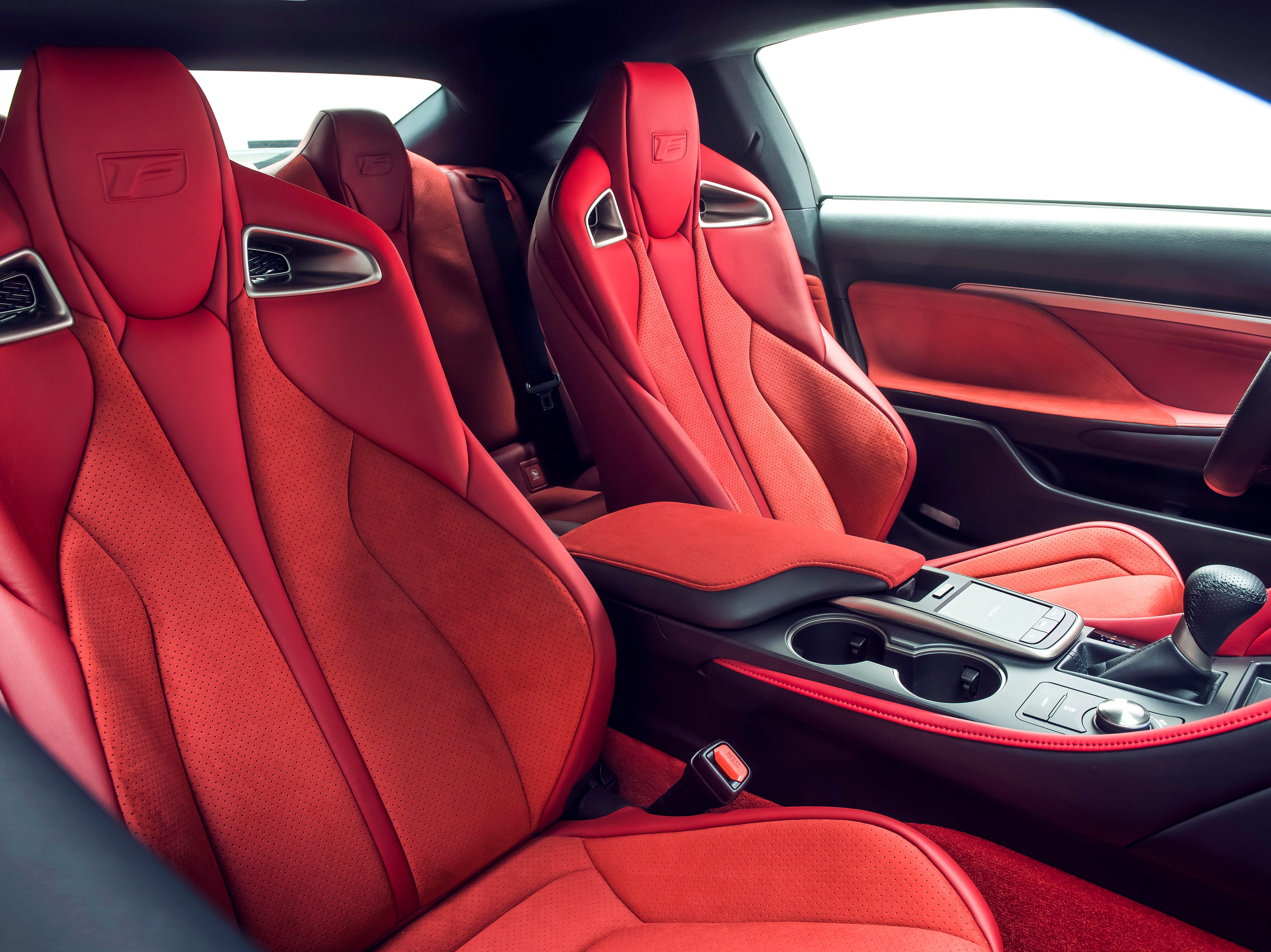 A red leather interior comes standard on the Lexus RC-F Track Edition along with Alcantara seat accents and red carbon trim on the doors and dashboard.