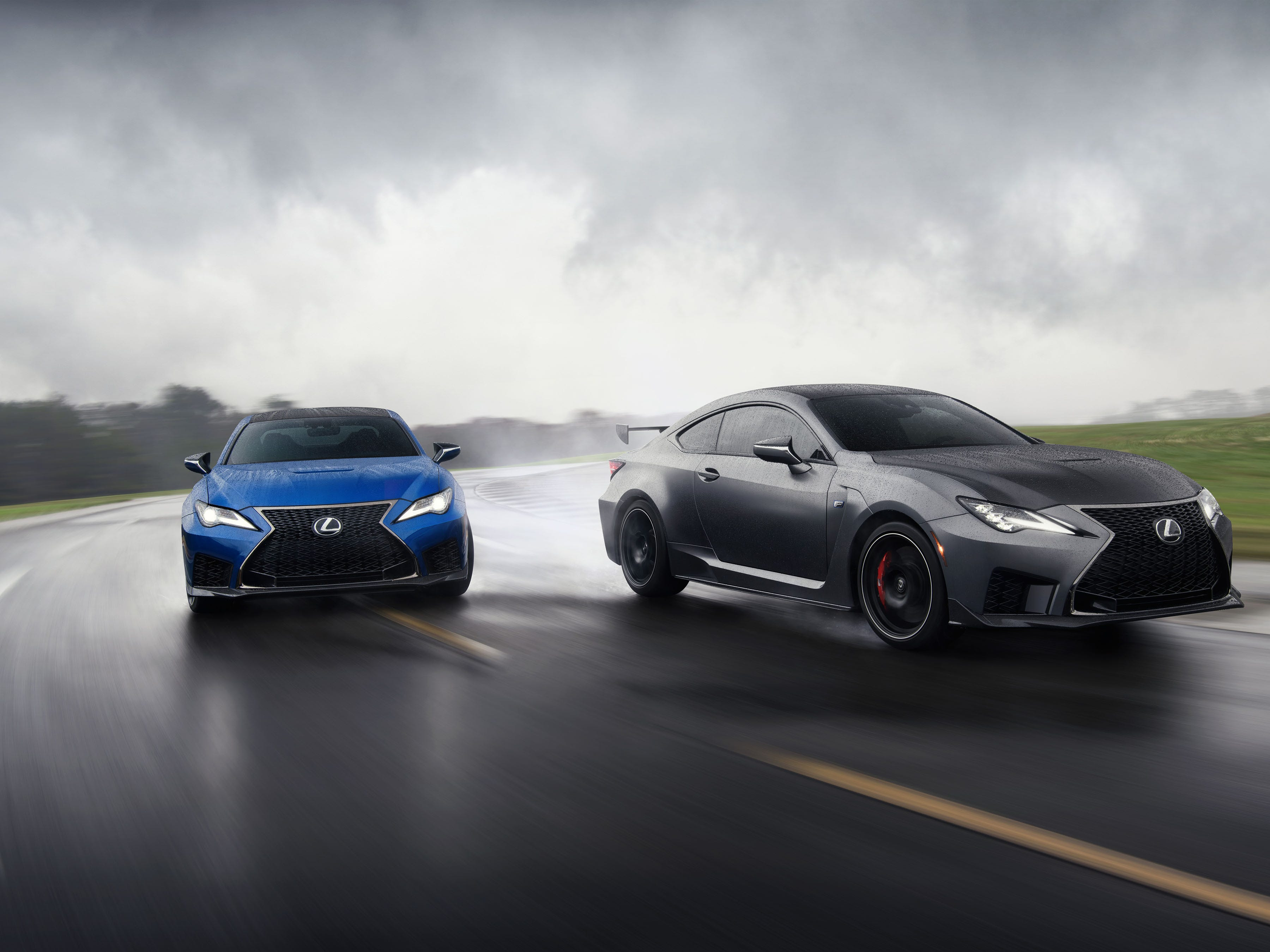 The 2020 Lexus RC-F, left, and the RC-F Track Edition.