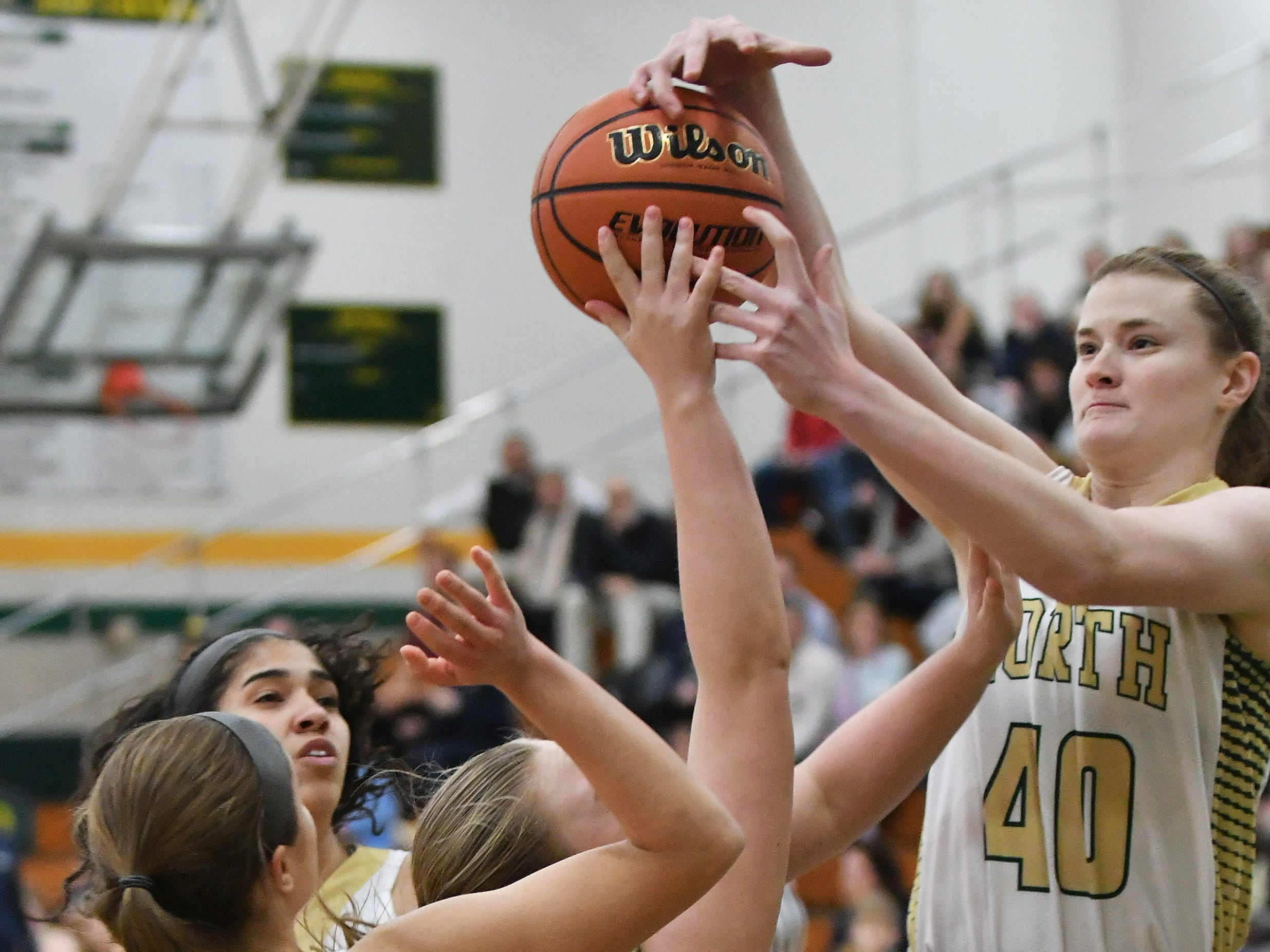 Grosse Pointe North's Julia Ayrault (40) battles Grosse Pointe South's Alexa Downey for a rebound in the first quarter.