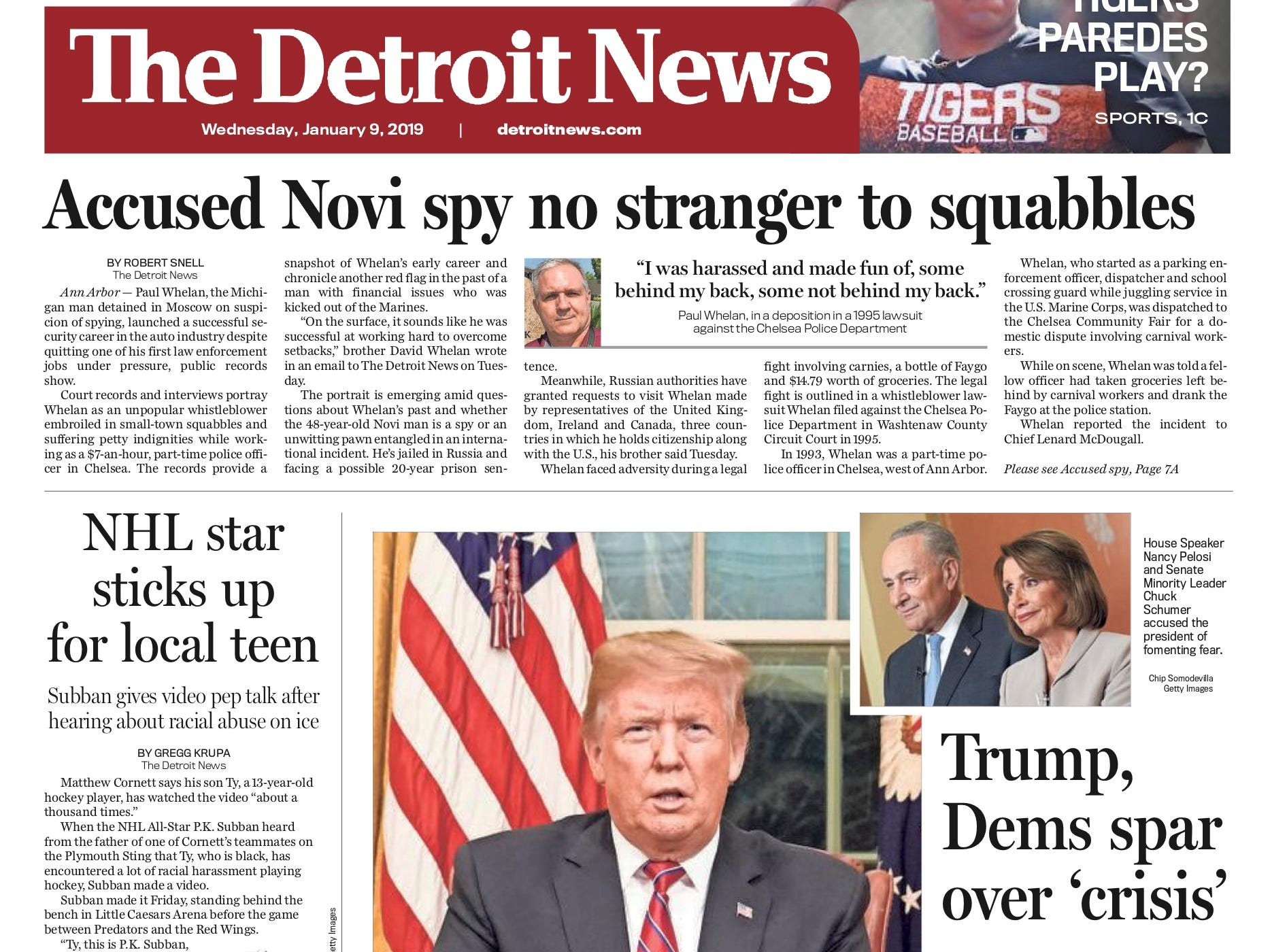 The front page of the Detroit News on January 9, 2019.
