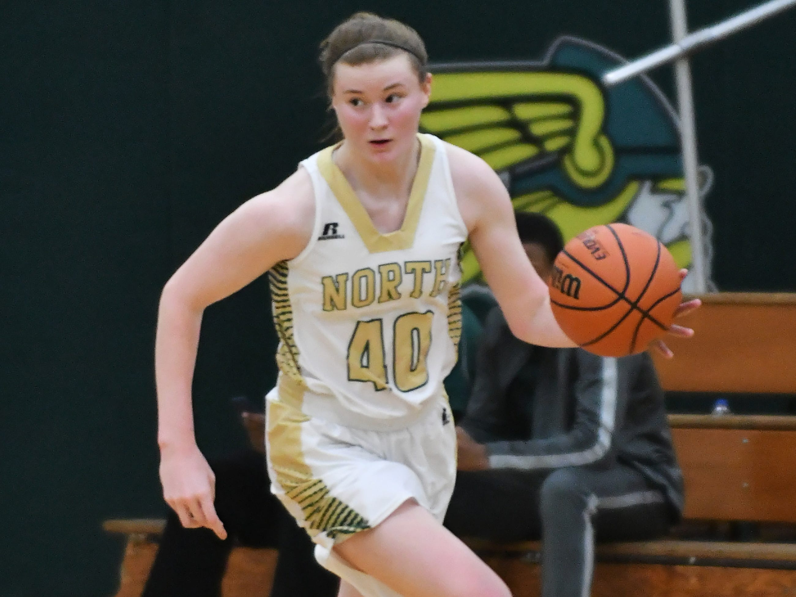 Grosse Pointe North's Julia Ayrault goes on a fast break in the second quarter.