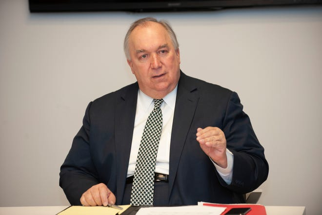 Michigan State University Interim President John Engler answers questions from The Detroit News Editorial Board and reporters in the Tony Snow conference room at The Detroit News in downtown Detroit on Friday, January 11, 2019.