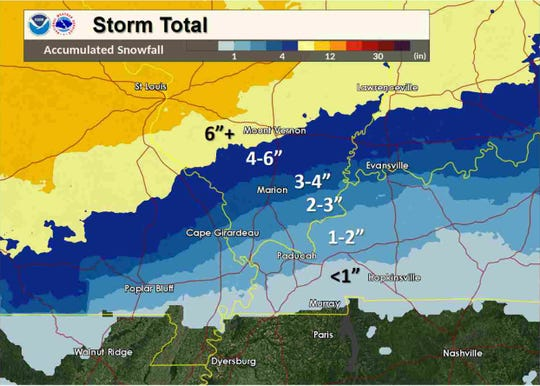 Forecast snow accumulation totals as of 11:20 a.m. CST.