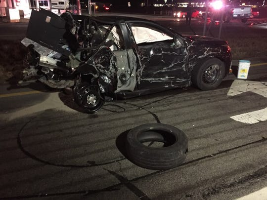 A scene of one of the cars involved in a Thursday night crash on U.S. 41 north of Evansville.