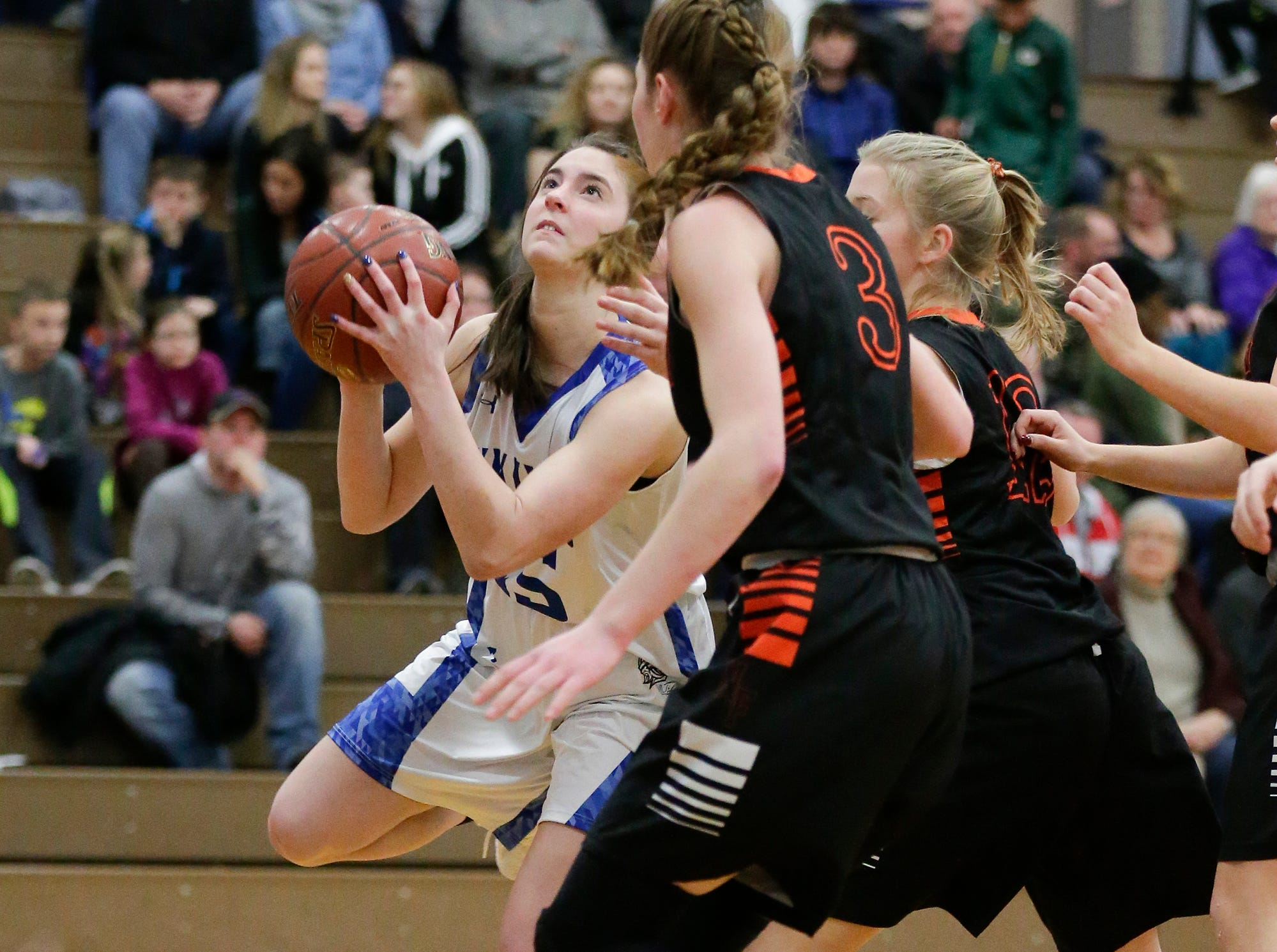 Winnebago Lutheran Academy girls basketball's Geneva Hewitt drives in towards the basket against North Fond du Lac High School January 10, 2019 during their game in Fond du Lac. Doug Raflik/USA TODAY NETWORK-Wisconsin