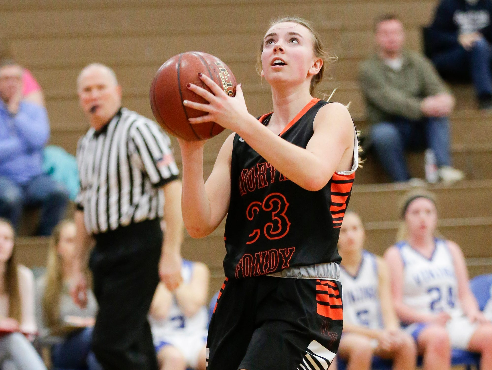 North Fond du Lac High School girls basketball's Jordyn Stattbacher goes in for a basket against Winnebago Lutheran Academy January 10, 2019 during their game in Fond du Lac. Doug Raflik/USA TODAY NETWORK-Wisconsin