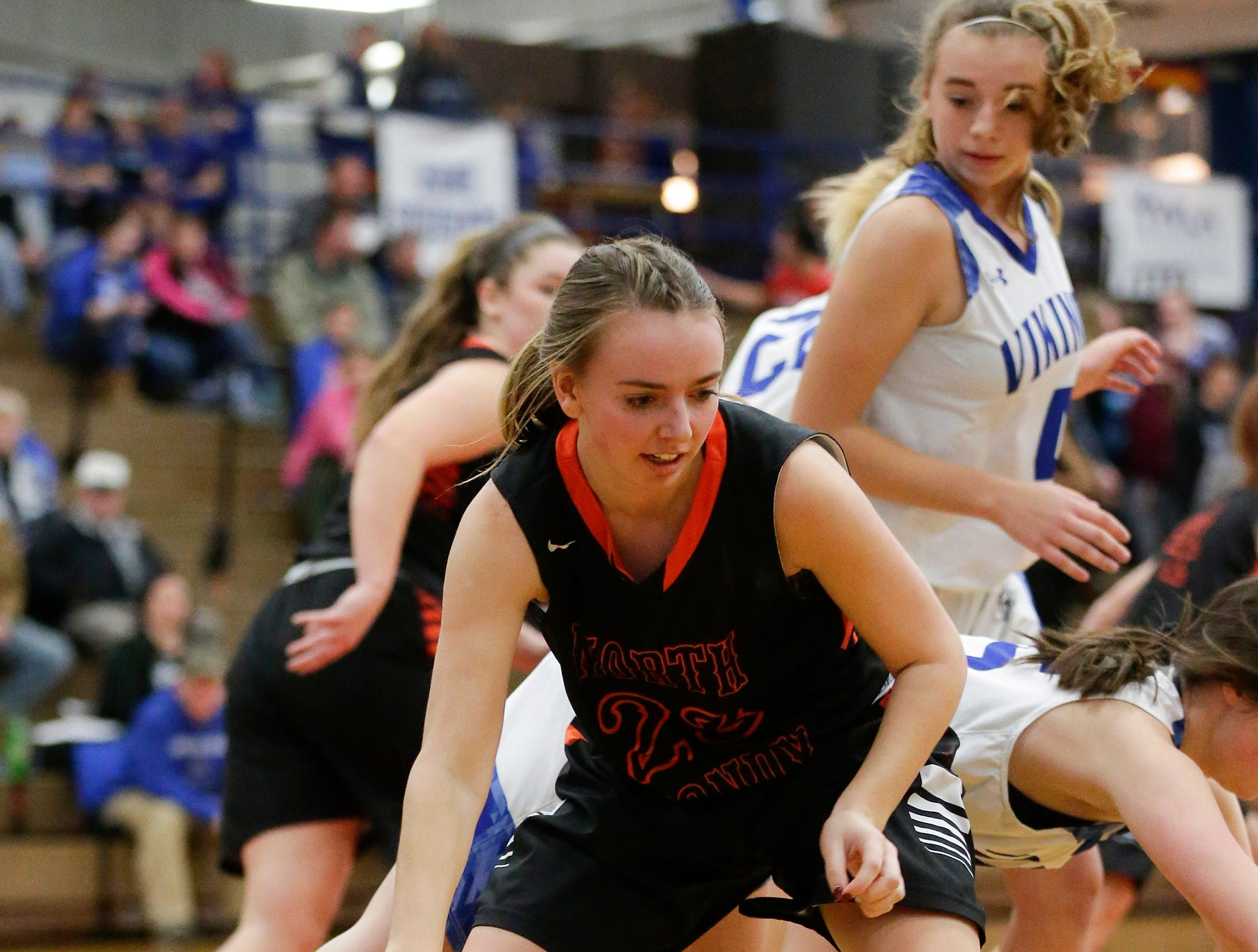 North Fond du Lac High School girls basketball's Jordyn Stattbacher comes down with this rebound against Winnebago Lutheran Academy January 10, 2019 during their game in Fond du Lac. Doug Raflik/USA TODAY NETWORK-Wisconsin